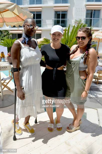 Cacsmy 'Mama Cax' Brutus Iskra Lawrence and Sarah Tripp pose during the Aerie Swim 2018 panel during the Paraiso Fashion Fair at the Plymouth Hotel...