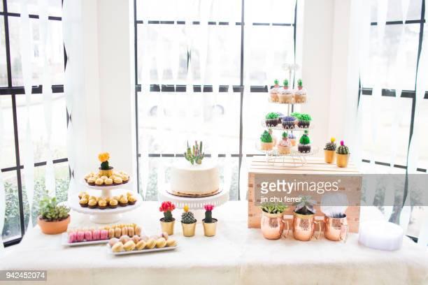 Cactus and Succulent Baby Shower Dessert Spread