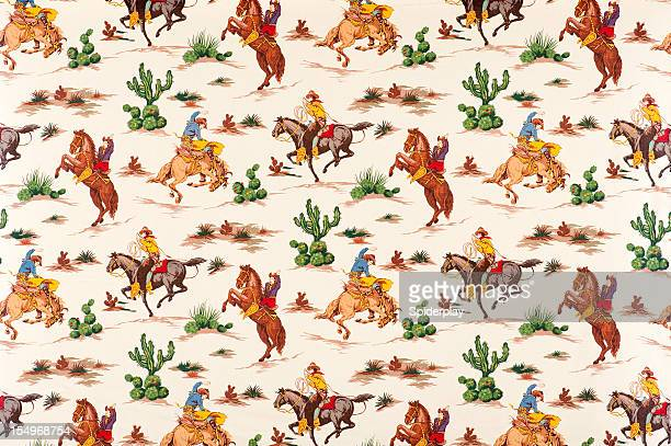 cactus cowboys vintage fabric - wild west stock pictures, royalty-free photos & images