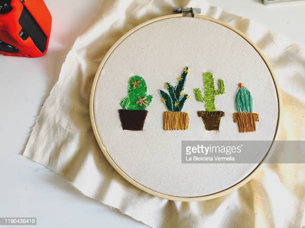 cactus embroidered on frame - embroidery stock pictures, royalty-free photos & images