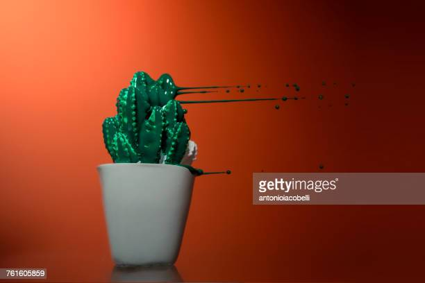 Cactus model with green paint blowing off it