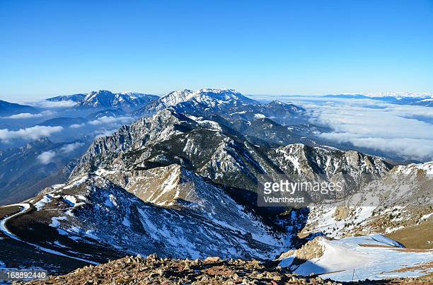 cadí and pedraforca snowy mountains in a sunny day - ピレネー ストックフォトと画像