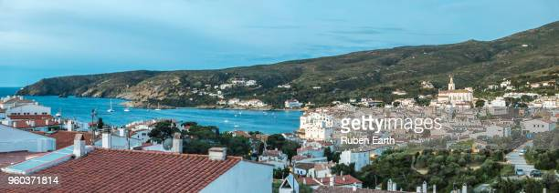 cadaques town in spain panoramic view - cadaques stock pictures, royalty-free photos & images