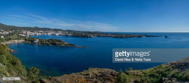 cadaqués from the air - cielo stock pictures, royalty-free photos & images