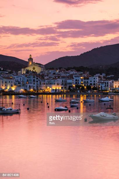 cadaqués (catalonia/ spain) - panorama at sunset - cadaques stock pictures, royalty-free photos & images