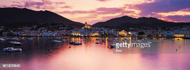 cadaqués panorama at sunset (catalonia/ spain) - cadaques stock pictures, royalty-free photos & images