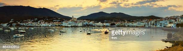 cadaqués twilight (catalonia/ spain) - panorama at sunset - cadaques stock pictures, royalty-free photos & images