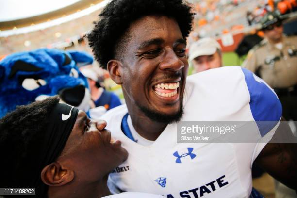 Cadarrius Thompson of the Georgia State Panthers celebrates after defeating the Tennessee Volunteers during season opener at Neyland Stadium on...