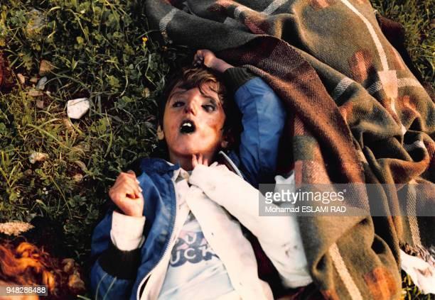 Cadavres des victimes civiles kurdes après les attaques chimiques au gaz perpétrées par l'armée irakienne en mars 1988 à Halabja, Irak.