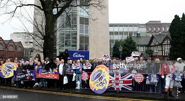 Cadbury workers protest outside the Cadbury factory in Birmingham central England on December 15 2009 US competition authorities have approved a bid...