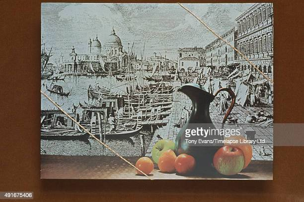 A Cadbury's chocolate box with a sketch of Venice and a still life on it circa 1960