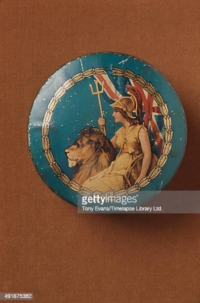 A Cadbury's chocolate tin depicting Britannia with a trident and a lion circa 1915