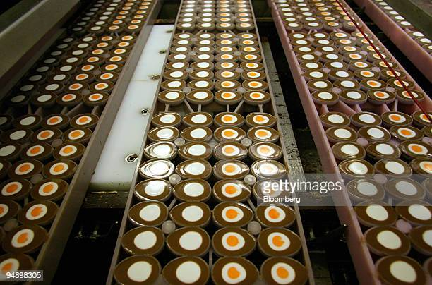 Cadbury's creme eggs seen on the production line at the Bournville Cadbury factory in Birmingham UK Tuesday August 30 2005 Cadbury Schweppes Plc the...
