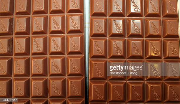 Cadbury's Dairy Milk Chocolate bars move down the production line at the Cadbury's Bournville production plant on December 15 2009 in Birmingham...