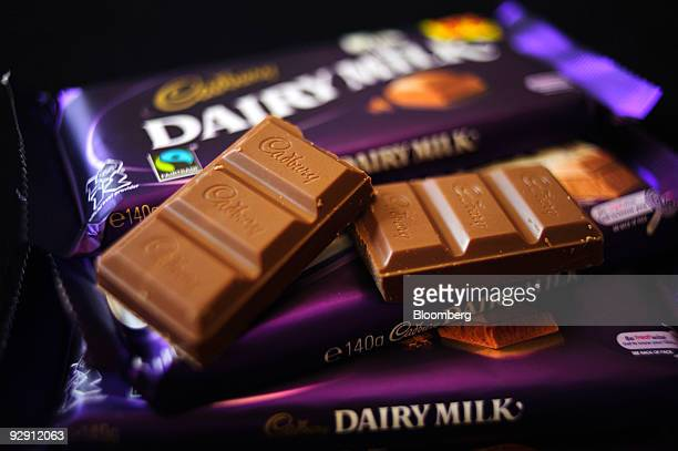 Cadbury's Dairy Milk chocolate bars sit arranged for a photo at a store in London UK on Monday Nov 9 2009 Kraft Foods Inc the world's secondlargest...