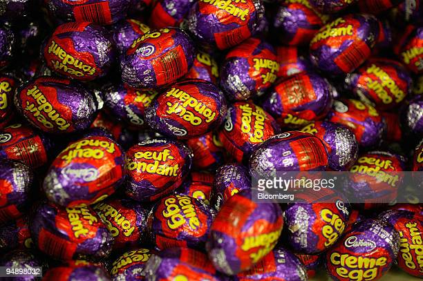 Cadburys eggs destined for the French Canadian market seen at the Bournville Cadbury factory in Birmingham UK Tuesday August 30 2005 Cadbury...
