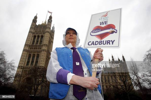Cadbury's employee Deborah MatthewsBooth who has worked at the company for 33 years wears her uniform as she protests outside the Houses of...