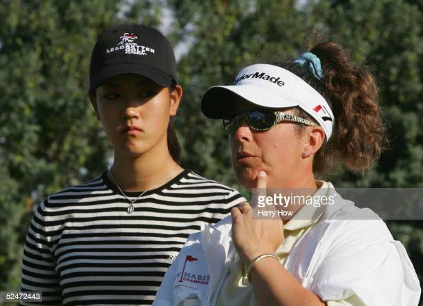Caddie Fanny Sunesson of Sweden and Michelle Wi of USA during the Pro-Am of the Kraft Nabisco Championship at the Mission Hills Country Club Dinah...