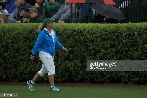 Caddie Fanny Sunesson walks on the driving range during a practice round prior to the Masters at Augusta National Golf Club on April 09 2019 in...