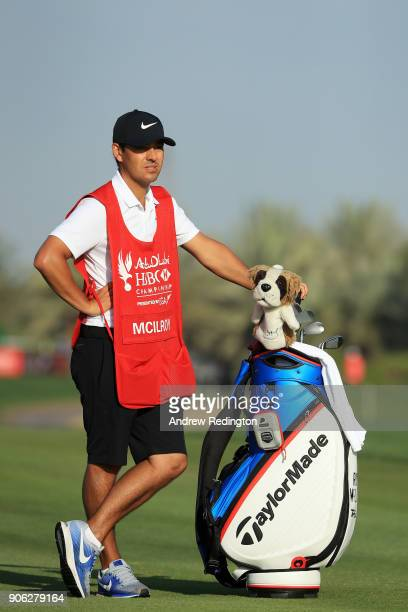 Caddie for Rory McIlroy of Northern Ireland Harry Diamond stands with his bag during round one of the Abu Dhabi HSBC Golf Championship at Abu Dhabi...