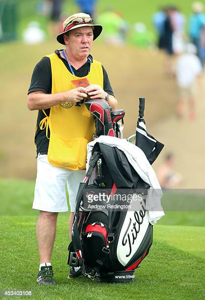 Caddie Mick Donaghy is seen during the third round of the 96th PGA Championship at Valhalla Golf Club on August 9 2014 in Louisville Kentucky