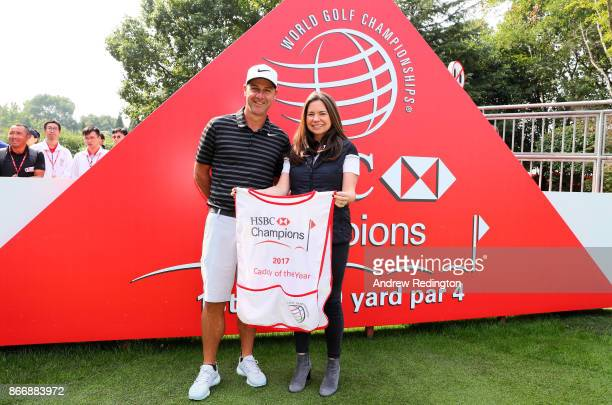 Caddie of the year 2017 Ricky Elliott poses with Nicola Crowther Senior Manager Global Golf Strategy and Planning at HSBC on the first tee during the...