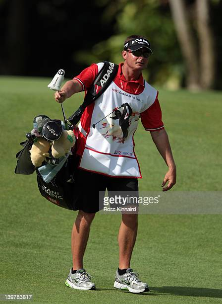 'HSBC Caddie of the Year' Jason Hamilton during the third round of the HSBC Women's Champions at the Tanah Merah Country Club on February 25 2012 in...