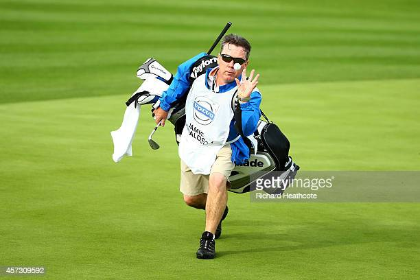 Caddy Mick Donaghy in action at the Volvo World Matchplay Championship at The London Club on October 16 2014 in Ash England