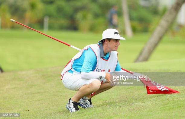 Caddy of the Year Peter Godfrey looks over the 16th green during the final round of the HSBC Women's Champions on the Tanjong Course at Sentosa Golf...