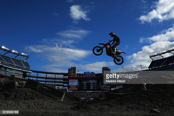 Cade Clason driver of the Honda CRF 450 rides in 450SX Heat 1 during Monster Engery AMA Supercross at Gillette Stadium on April 23 2016 in Foxboro...