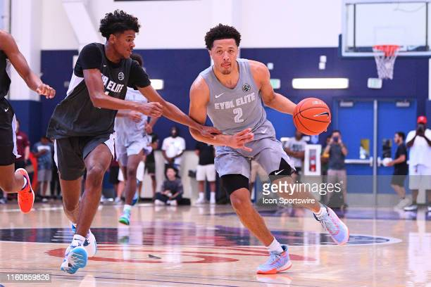 Cade Cunningham drives to the basket against Jalen Green during the Nike Academy Showcase Game on August 10 2019 at the Los Angeles Southwest College...