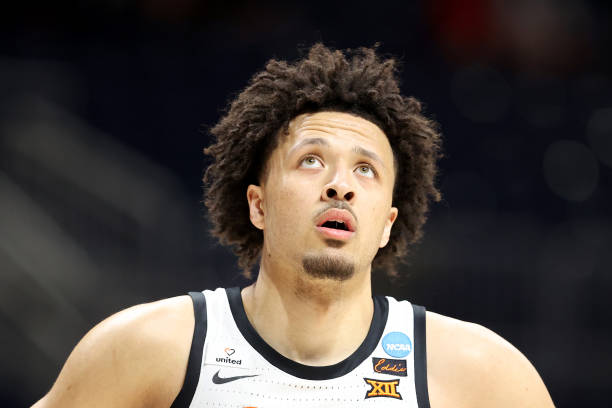 Cade Cunningham of the Oklahoma State Cowboys looks on as they play the Oregon State Beavers during the first half in the second round game of the...