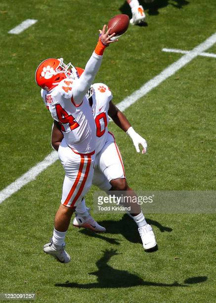 Cade Denhoff of the Clemson Tigers breaks up a pass during the Clemson Orange and White Spring Game at Memorial Stadium on April 3, 2021 in Clemson,...
