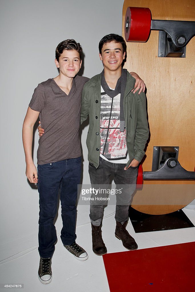 Cade Johnson and Keean Johnson attend the DreamWorks Animation's 'Turbo FAST' premiere at 'The Lot' on December 7, 2013 in West Hollywood, California.