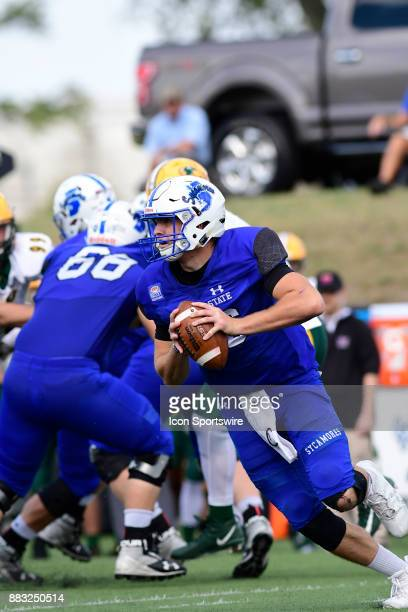 Cade Sparks quarterback Indiana State University Sycamores scrambles against the North Dakota State University Bison in a Missouri Valley Conference...