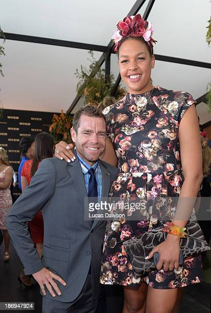 Cadel Evans and Liz Cambage attend the Myer marquee during Melbourne Cup Day at Flemington Racecourse on November 5 2013 in Melbourne Australia