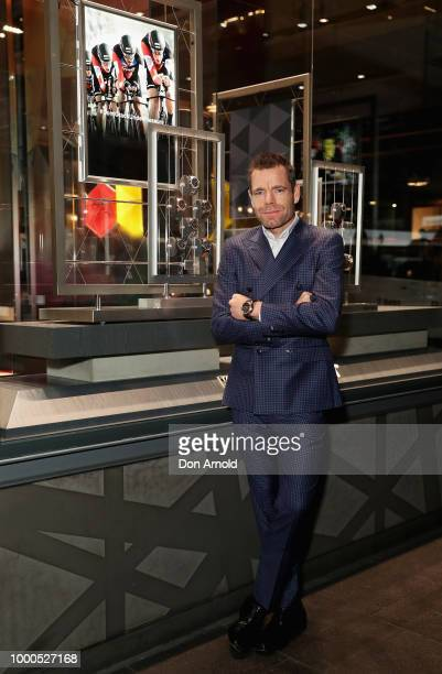 Cadel Evans and Stefania Zandonella attend Celebration of Cycling at the TAG Heuer Sydney Flagship Boutique on July 17 2018 in Sydney Australia