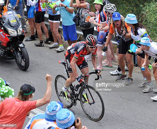 Cadel Evans from Australia leads up the KOM to go on and win during Stage Three of the Tour Down Under on January 23 2014 in Adelaide Australia