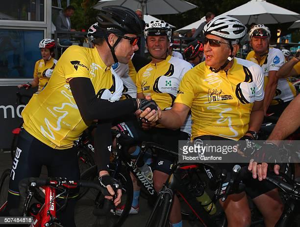 Cadel Evans greets riders during the 2016 Cadel Evans Great Ocean Road Race People's Ride on January 30 2016 in Geelong Australia