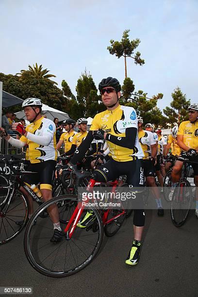 Cadel Evans looks on during the 2016 Cadel Evans Great Ocean Road Race People's Ride on January 30 2016 in Geelong Australia