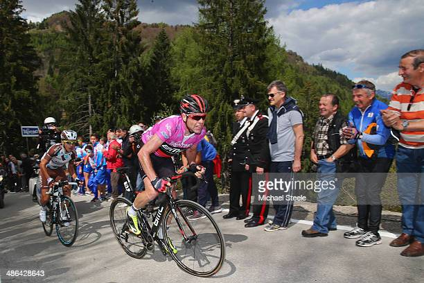Cadel Evans of Australia and BMC Racing Team approaches the summit and finishing line at Roncone LocPozza to win the stage from Domenico Pozzovivo of...