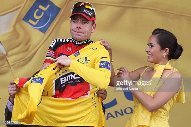 Cadel Evans of Australia and BMC Racing Team becomes the race leaders yellow jersey after the Individual Time Trial Stage 20 of the 2011 Tour de...