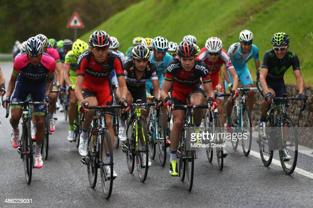 Cadel Evans of Australia and BMC Racing Team has support from team mate Steve Morabito of Switzerland during stage two of the Giro del Trentino from...