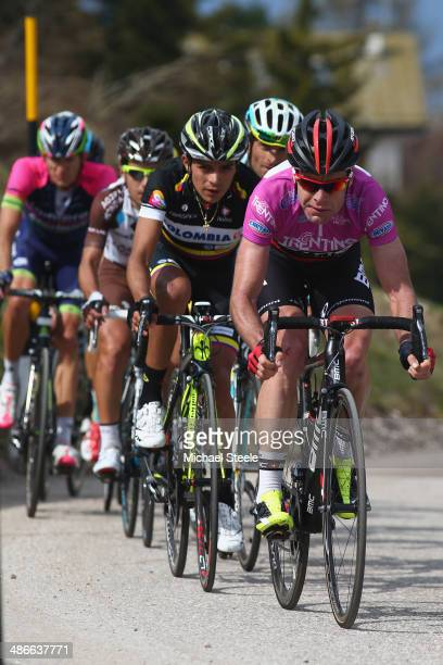 Cadel Evans of Australia and BMC Racing Team heads towards the summit of Vason MonteBondone during stage four of the Giro del Trentino from Val Daone...
