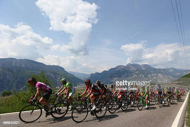 Cadel Evans of Australia and BMC Racing Team leads up the climb of Palu di GiovaMaso Roncador during stage four of the Giro del Trentino from Val...