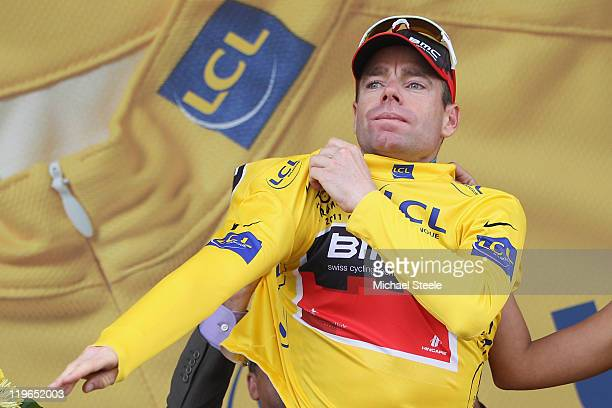 Cadel Evans of Australia and BMC Racing Team takes over the race leaders yellow jersey after the Individual Time Trial Stage 20 of the 2011 Tour de...