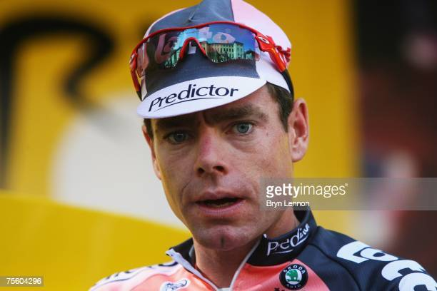 Cadel Evans of Australia and Predictor-Lotto arrives at the start of stage 15 of the 2007 Tour de France from Foix to Loudenvielle Le Louron on July...