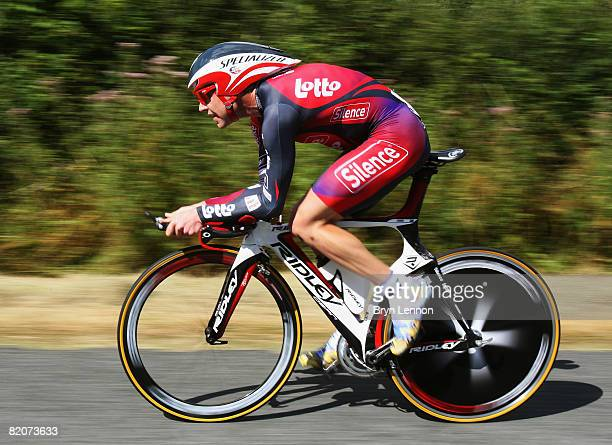 Cadel Evans of Australia and Silence-Lotto in action on stage 20 of the 2008 Tour de France, a time trial from Cerilly to Saint-Amand-Montrond on...