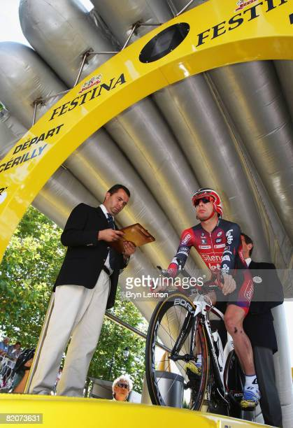 Cadel Evans of Australia and Silence-Lotto prepares to start stage 20 of the 2008 Tour de France, a time trial from Cerilly to Saint-Amand-Montrond...