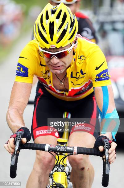 Cadel Evans of Australia and the BMC Racing Team climbs the Col de la Madeleine during stage nine of the 2010 Tour de France from MorzineAvoriaz to...